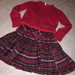 Red black white plaid tartan 100's+ PLEATED Pleats
